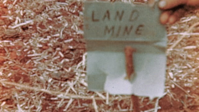 land mine and mine marker on the jungle floor during wwii pacific campaign / saipan mariana islands - land mine stock videos and b-roll footage
