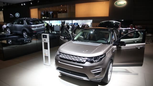 A Land Rover Discovery Sport automobile produced by Jaguar Land Rover Plc sits on display during the first preview day at the Paris Motor Show in...