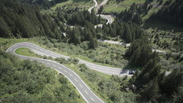 WS POV Land vehicle moving on mountain road in Austria