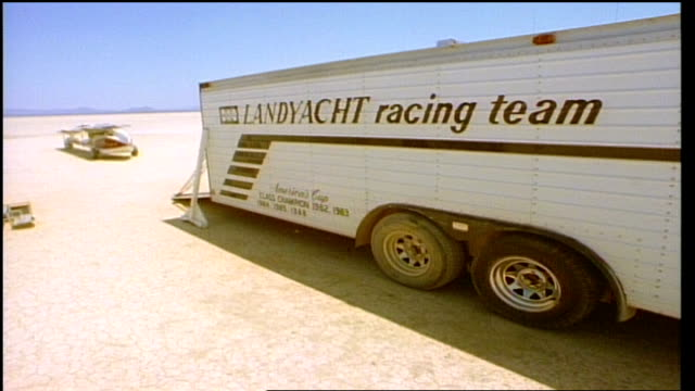 land yacht racing trailer in desert in california - 1992 stock videos & royalty-free footage