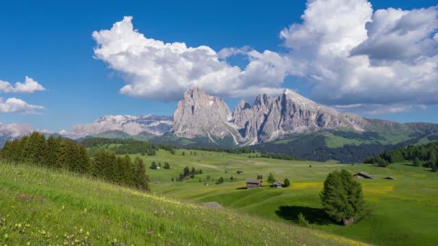 landcape of alpe di siusi, dolomite, italy - alpe di siusi video stock e b–roll