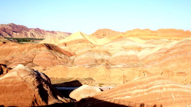 landform in zhangye shanxi 4k - sandstone stock videos & royalty-free footage