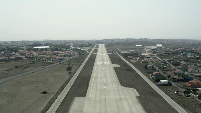 aerial ws landing at cascais airport / cascais, lisbon, portugal - cascais stock videos and b-roll footage