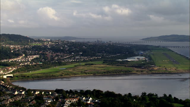 landing at dundee airport  - aerial view - scotland, dundee city, united kingdom - dundee scotland stock videos and b-roll footage