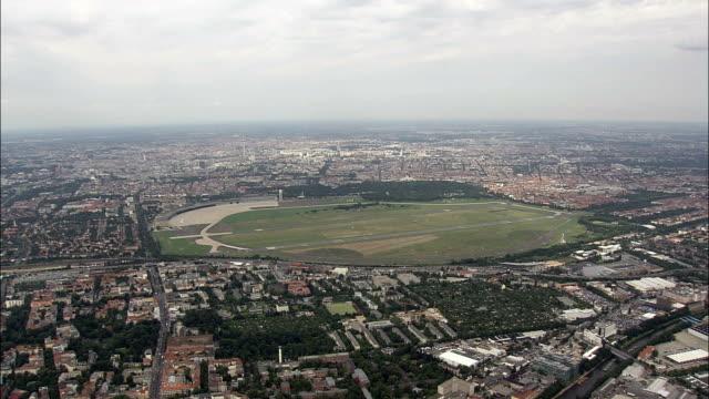 Landing At the Old Tempelhof Airport  - Aerial View - Berlin,  Berlin,  Stadt,  Germany