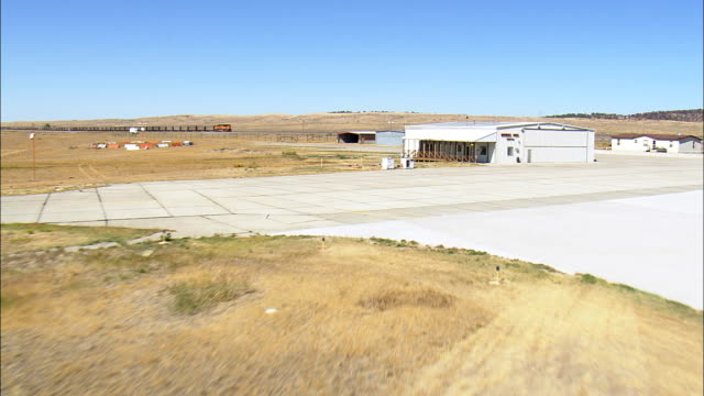 Landing At the Pumps At Newcastle Airfield  - Aerial View - Wyoming, Weston County, United States