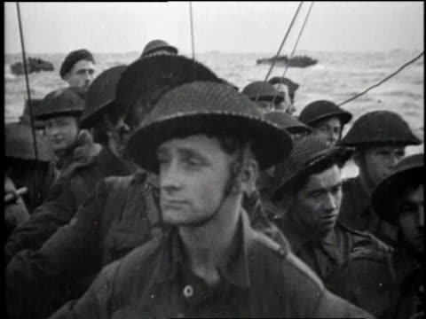 ls landing crafts heading for coast / ms landing crafts heading for coast / ms soldiers aboard landing craft / ls solders aboard landing craft / ms... - d day stock videos & royalty-free footage