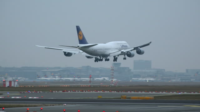 landing lufthansa boeing 747 airplane at frankfurt airport, frankfurt am main, hesse, germany - landen stock-videos und b-roll-filmmaterial