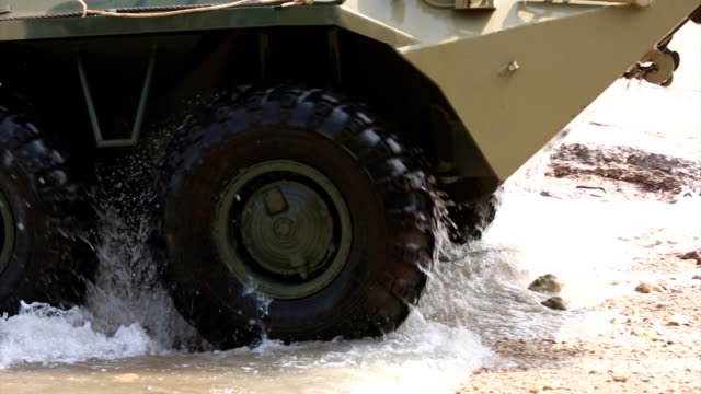 Landing of an amphibious armored personnel carrier