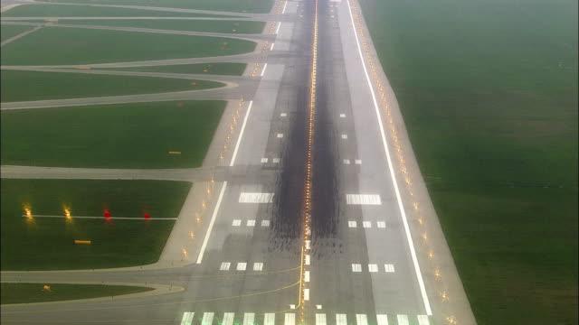 AERIAL POV Landing on airport runway / Schwechat, Lower Austria, Austria