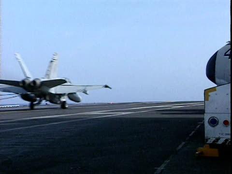 f 18 landing on deck of uss eisenhower 1998 - aircraft carrier stock videos and b-roll footage