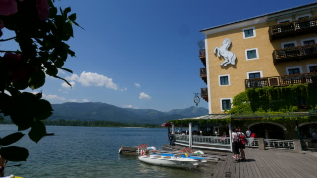 Landing Stage at the Hotel Weisses Roessl, St. Wolfgang, Lake Wolfgang, Salzkammergut, Upper Austria, Austria
