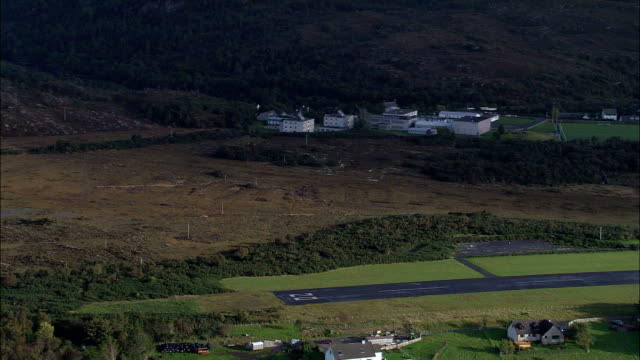Landing To Re-Fuel At Plockton Aerodrome  - Aerial View - Scotland, Highland, United Kingdom