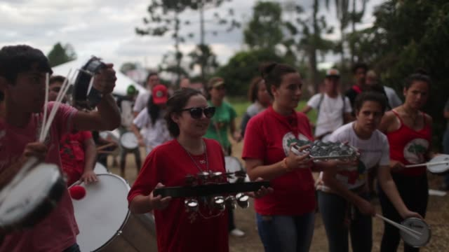 Landless and social movements march to demonstrate their support to former president Luiz Inacio Lula da Silva in Curitiba southern Parana state...