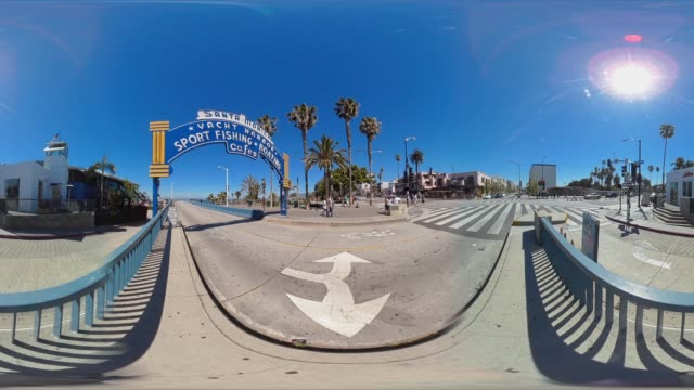 landmark entrance to the santa monica pier california usa - santa monica pier sign stock videos & royalty-free footage