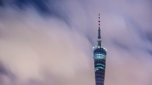 landmark guangzhou tower at twilight in cloud sky. timelapse