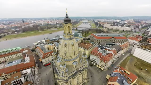 landmarks in the historic city center, including residenzschloss dresden palace , the catholic hofkirche church and semperoper opera house , are seen... - hofkirche stock videos & royalty-free footage