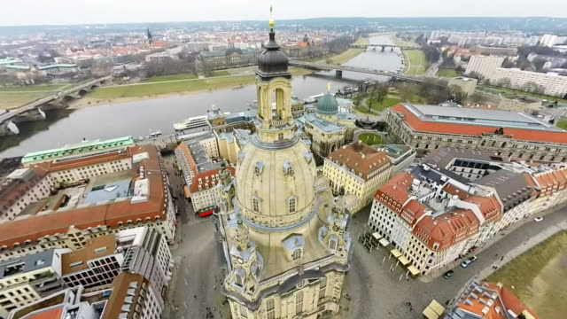 landmarks in the historic city center, including residenzschloss dresden palace , the catholic hofkirche church and semperoper opera house , are seen... - dresden frauenkirche stock videos & royalty-free footage