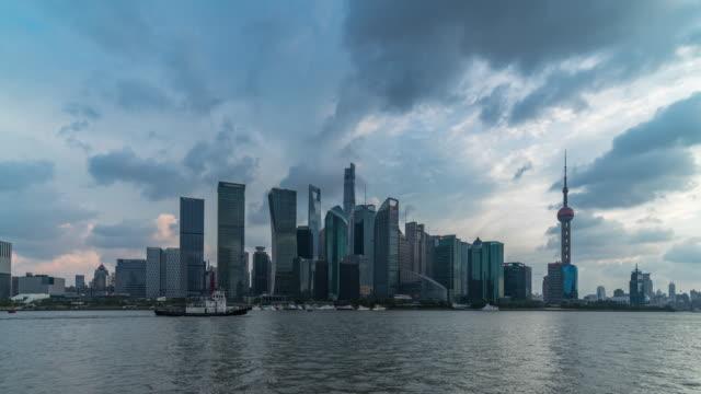landmarks of shanghai at dusk - jin mao tower stock videos & royalty-free footage