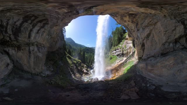 360VR landscape 4k video behind waterfall in mountains