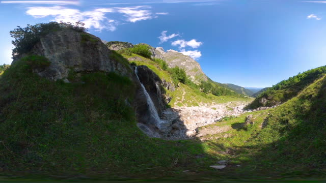 360VR landscape 4k video mountain waterfall