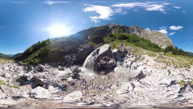 360VR landscape 4k video small mountain waterfall