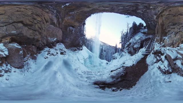 360VR landscape 4K video snow and ice at waterfall in mountains