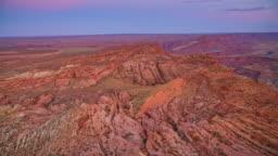 AERIAL Landscape along Grand Canyon at dusk
