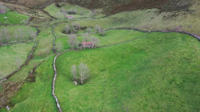 landscape, alto los machucos or collao espina, from bustablado to calseca, valles pasiegos, cantabria, spain, europe - コテージ点の映像素材/bロール