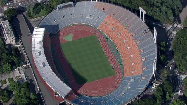 aerial, landscape around national olympic stadium before demolition - オリンピックスタジアム点の映像素材/bロール