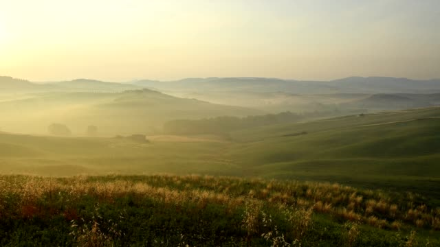 landscape at misty morning, pienza, val d'orcia, siena province, tuscany, italy - 40 seconds or greater stock videos & royalty-free footage