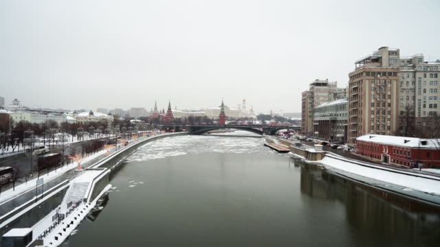 landscape beautiful frozen moskva river with cathedral of christ the saviour at moscow winter times russia - red square stock videos & royalty-free footage