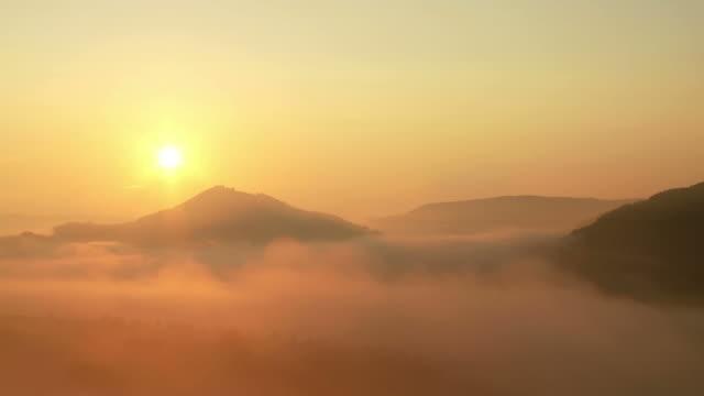 landscape in early morning fog
