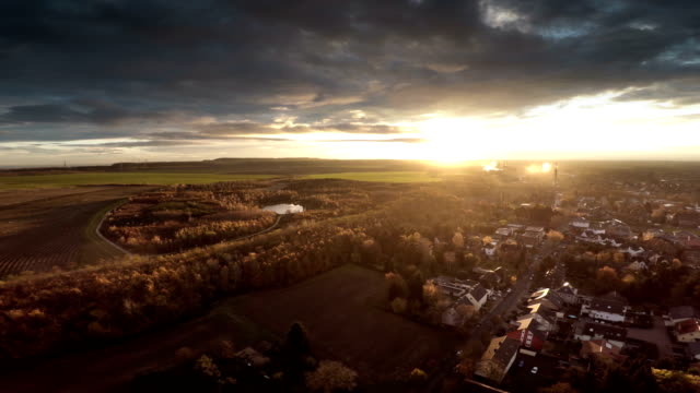 aerial : landscape in germany with town - europe stock videos & royalty-free footage
