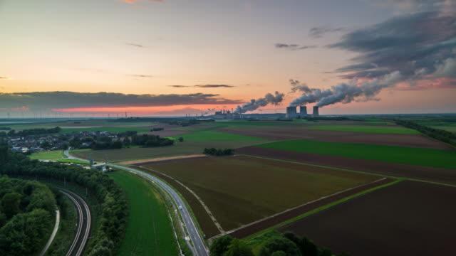 aerial: landscape in north rhine westphalia, germany with power stations - north rhine westphalia stock videos & royalty-free footage