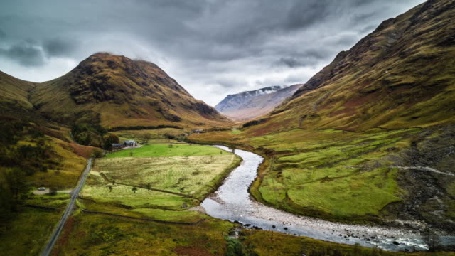 aerial: landscape in scotland - glen etive - river stock videos & royalty-free footage