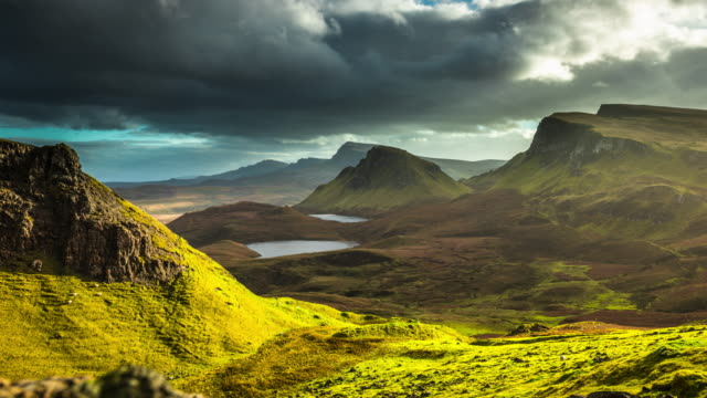 landscape in scotland, the quiraing - time lapse - perfection stock videos & royalty-free footage