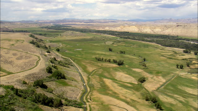 Landscape near Crowheart - Aerial View - Wyoming,  Fremont County,  helicopter filming,  aerial video,  cineflex,  establishing shot,  United States