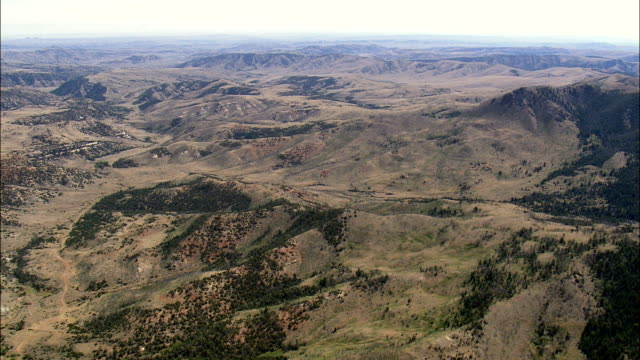 landscape near Grass Creek - Aerial View - Wyoming,  Washakie County,  helicopter filming,  aerial video,  cineflex,  establishing shot,  United States