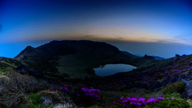 Landscape of Baengnokdam(crater lake) in top of Hallasan mountain in spring