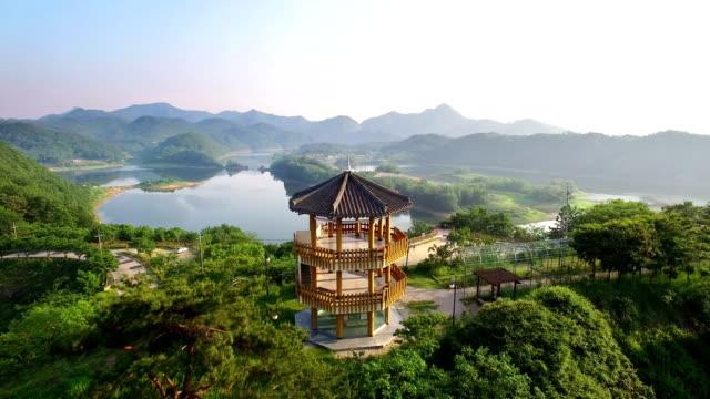landscape of bungeo island and gazebo at okjeongho lake - gazebo stock videos & royalty-free footage
