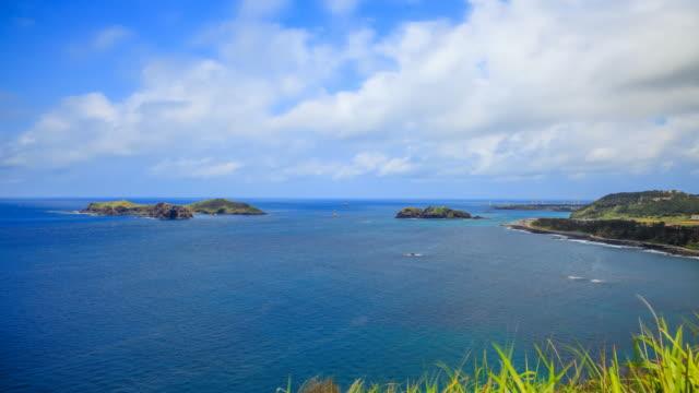 stockvideo's en b-roll-footage met landscape of chagwido island and coastal road in jeju island, korea - natuurwonder