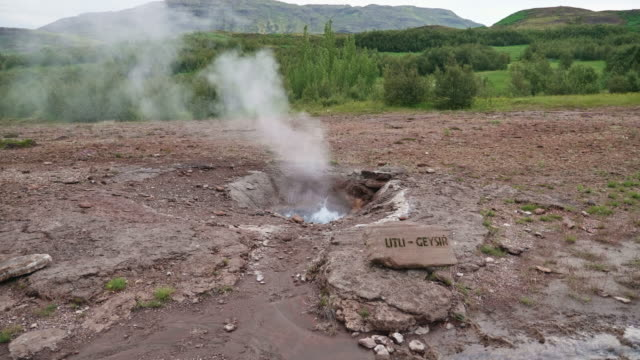 landscape of geyser, iceland - bollente video stock e b–roll