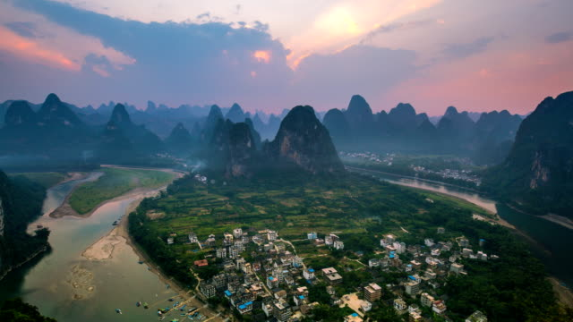 Landscape of Guilin TL TD , Li River and Karst mountains called Laozhai mount, Guangxi Province, China