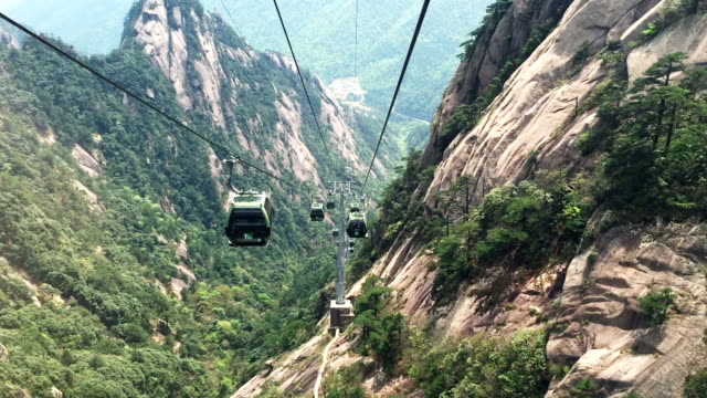 landscape of huangshan mountain from cable car