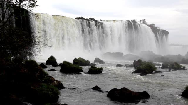 vídeos y material grabado en eventos de stock de landscape of iguacu falls (one of the three grand waterfalls) and stream in iguacu national park at brazil - cataratas del iguazú
