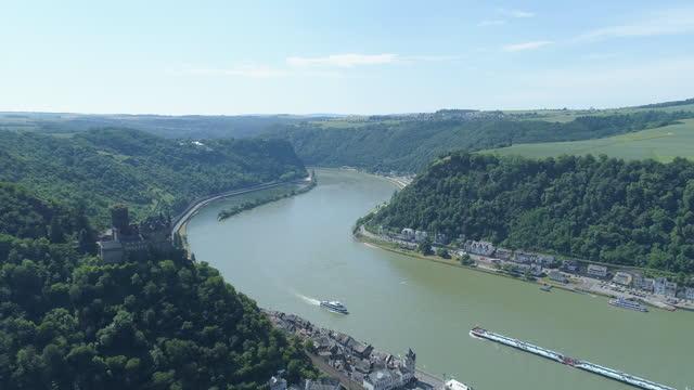 landscape of lorelei (loreley rock) in rhine river / rhineland-palatinate, germany - 360 stock videos & royalty-free footage