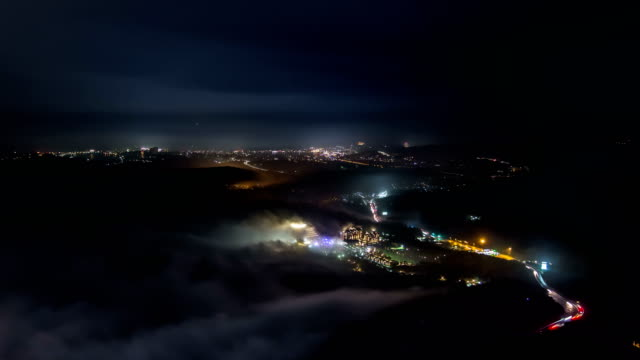 landscape of misiryeong cloud sea at mt. seoraksan (national park) at night - street light stock videos & royalty-free footage