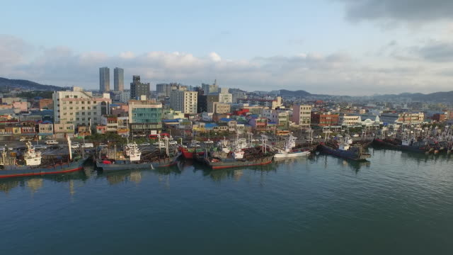 landscape of mokpo harbor with fishing village - fishing village stock videos and b-roll footage