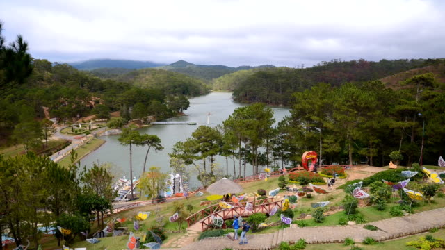 landscape of mountain range and blue sky with cloudy at valley of love ,dalat city - textile patch stock videos & royalty-free footage